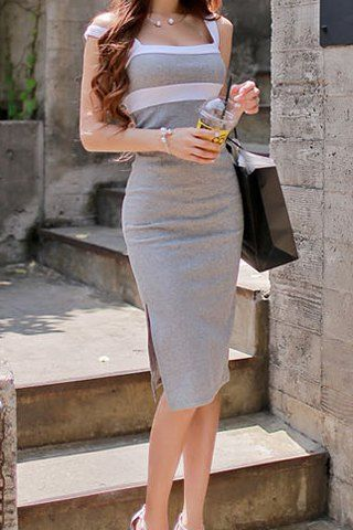 Sexy Plunging Neck Sleeveless Backless Color Block Bodycon Dress For Women