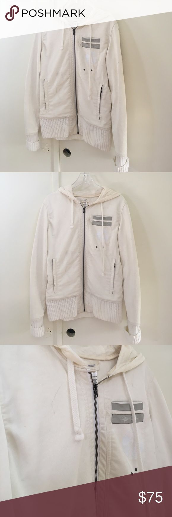 Diesel Coat Jacket Very thick lined white diesel hooded coat with zipper and leather accents. Looks great on! In PreOwned has light marks from the nature of it being white and some spots around the wrists. Selling cheap because of this. Diesel Jackets & Coats