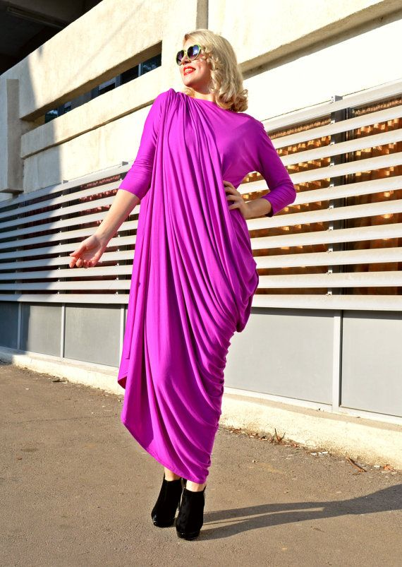 Purple Kaftan / Extravagant Maxi Dress / Plus Size Purple Dress / Funky Viscose Kaftan TDK159 / SPRING 2016