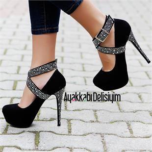 Katya Siyah Taşlı Platform Topuklu Ayakkabı