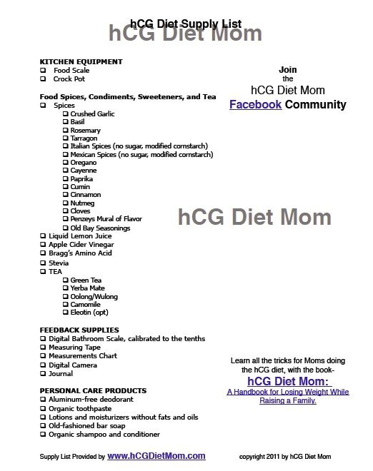 Hcg Phase  Food List With Calories