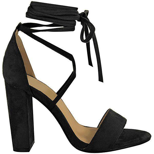 Lacets Nœud Cheville Enroulé Sandales Womens Dames À Talons Hauts Chaussures Épaisses Taille - Marron Moka Faux Daim, FR 36