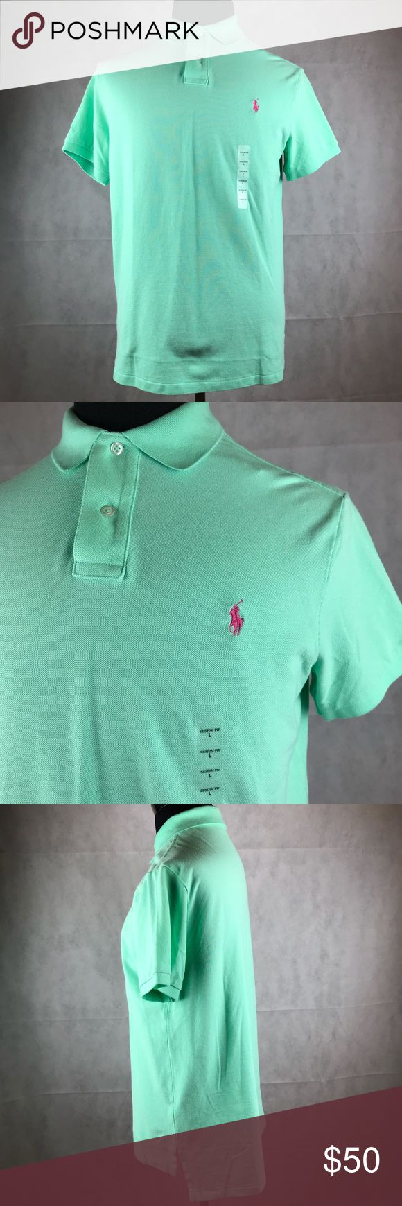 """POLO Ralph Lauren Custom Fit Polo Shirt Lime Green POLO Ralph Lauren Men's Custom Fit Polo Shirt L Lime Green Short Sleeve Pink Pony  Condition: New With Tag  Measurements Armpit to Armpit: 21 1/2"""" Sleeve Length: 8"""" Length: 27 1/2"""" Polo by Ralph Lauren Shirts Polos"""