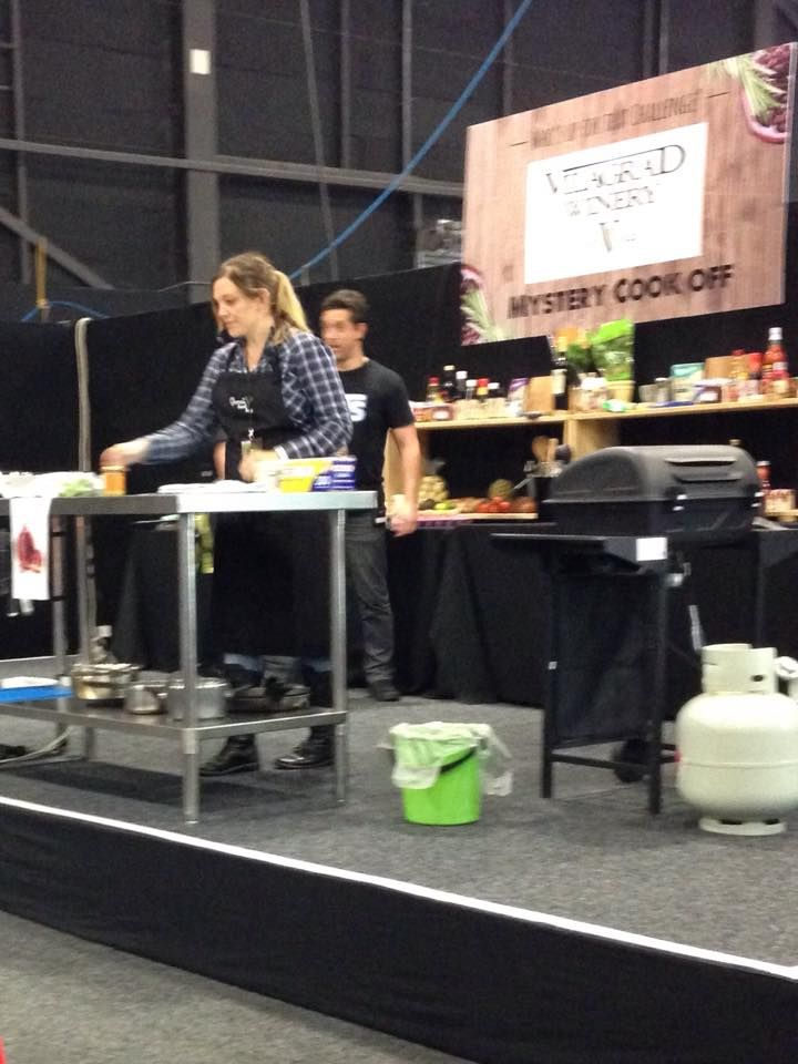 Emma busy cooking up a storm at The Great NZ Food Show 2015