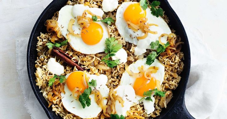 Go meat-free for the night with this hearty Lebanese pilaf. Filled with warming spices and sweet caramelised onion, and topped with satisfying fried eggs, it has all the makings of a new easy weeknight favourite.