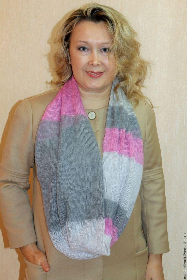 Купить Снуд-шарф розово-серый - комбинированный, в полоску, мохеровый, мягкий, нежный, шарф женский
