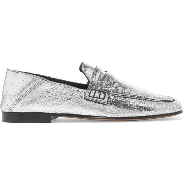 Isabel Marant Fezzy collapsible-heel metallic cracked-leather loafers ($495) ❤ liked on Polyvore featuring shoes, loafers, silver, flat pumps, isabel marant shoes, flat slip on shoes, slip-on shoes and flat shoes