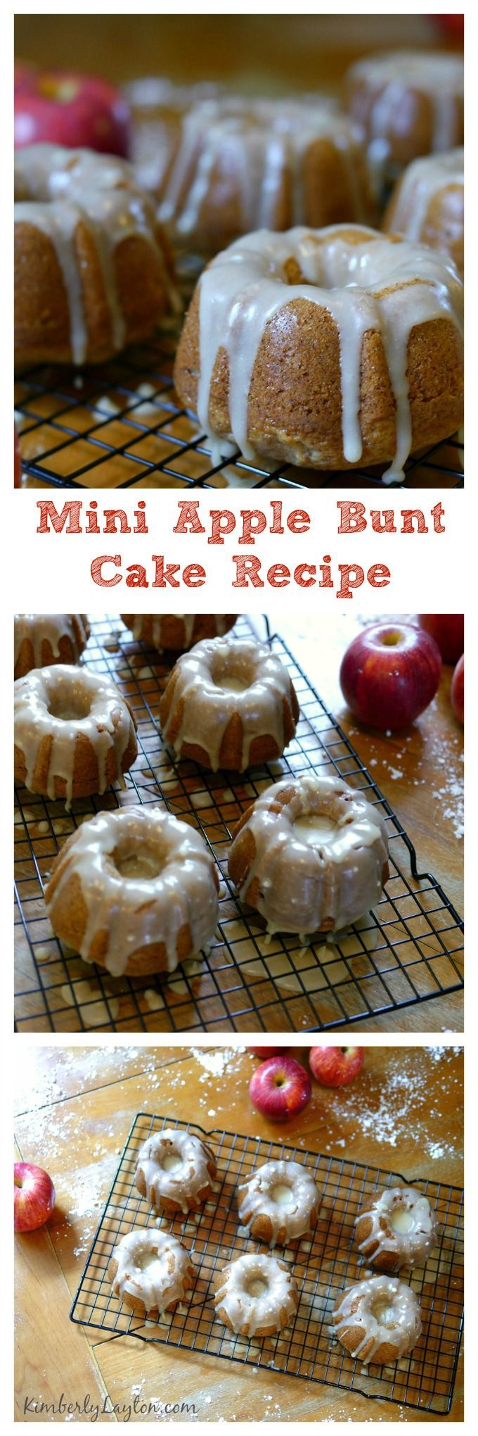 Mini Apple Bundt Cake Recipe...oh my goodness these are awesome.  Don't skimp on the glaze! #bake #recipe
