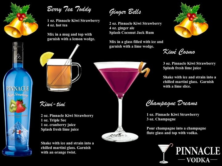 Holiday Cocktails made with Pinnacle Kiwi Strawberry vodka. Drink up mate!