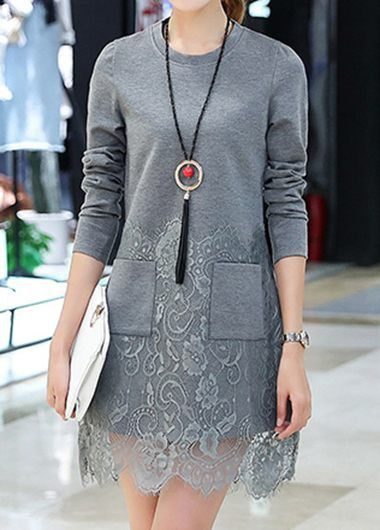 Pocket Embellished Long Sleeve Lace Panel Grey Fall Dress, cute dress, modest dress, long sleeve dress, lace hem dress, dress for women, fall dress, tunic lace dress,casual dress, casual dress for women, womens fashion, fall outfits, fall outfits for women.free shipping and better service at rosewe.com.
