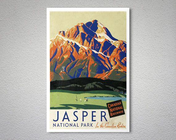 Jasper National Park, Canadian National Railways  - Vintage Travel Poster - Poster Paper, Sticker or Canvas Print
