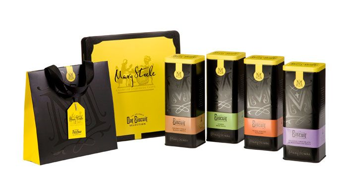 Mary Steele - Luxury biscuit brand designed to be gifted. Designed by threebrand #package #biscuit