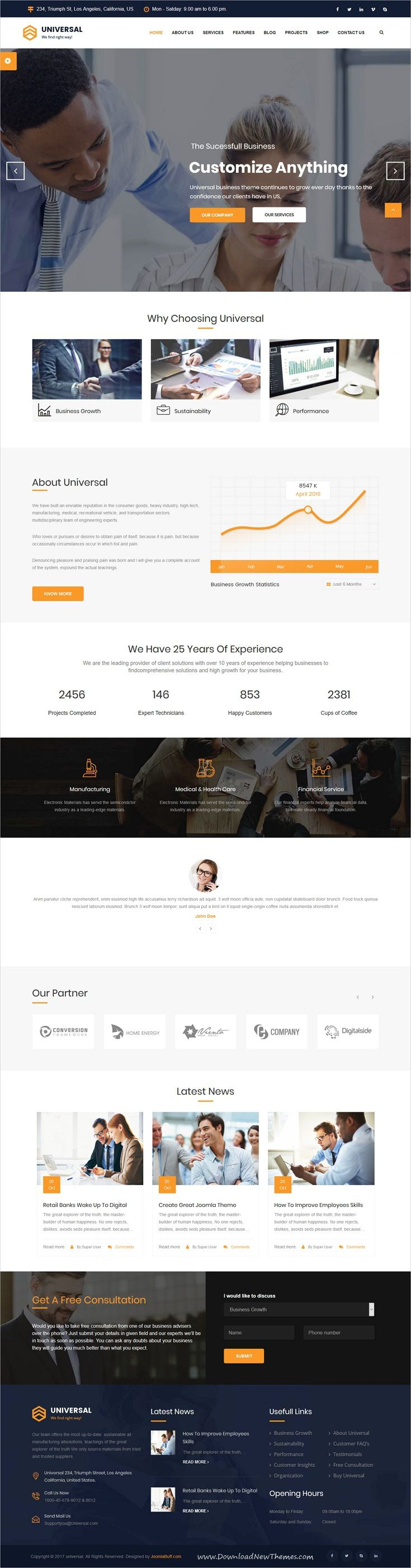 Universal is clean and modern design responsive #Joomla template for business #consulting and professional services website to live preview & download click on Visit  #businesswebsite