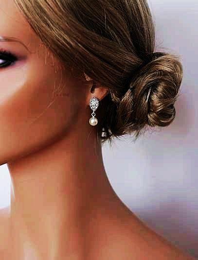 Art Deco, Crystal Earrings, Bridal Pearl Earrings, Pearl Earrings, Sterling Silver Earrings, - GRETCHEN
