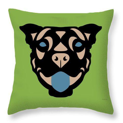 Throw Pillow Terrier Terry - Dog Design - Greenery, Hazelnut, Niagara Blue by Manuel Süess | Order at http://artprintsofmanuel.com/products/terrier-terry-dog-design-greenery-hazelnut-niagara-blue-manuel-sueess-throw-pillow.html