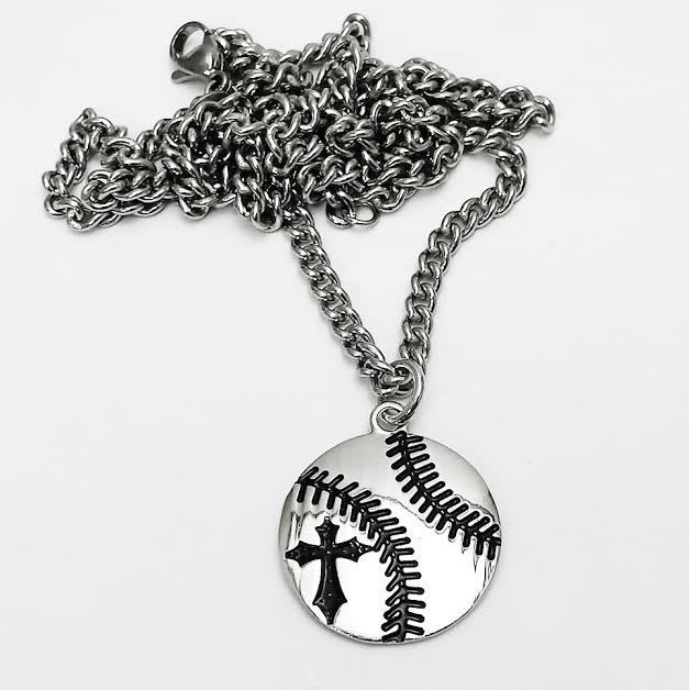 Shields of Strength - Baseball Pendant Rhodium Plated Necklace-Phil 4:13