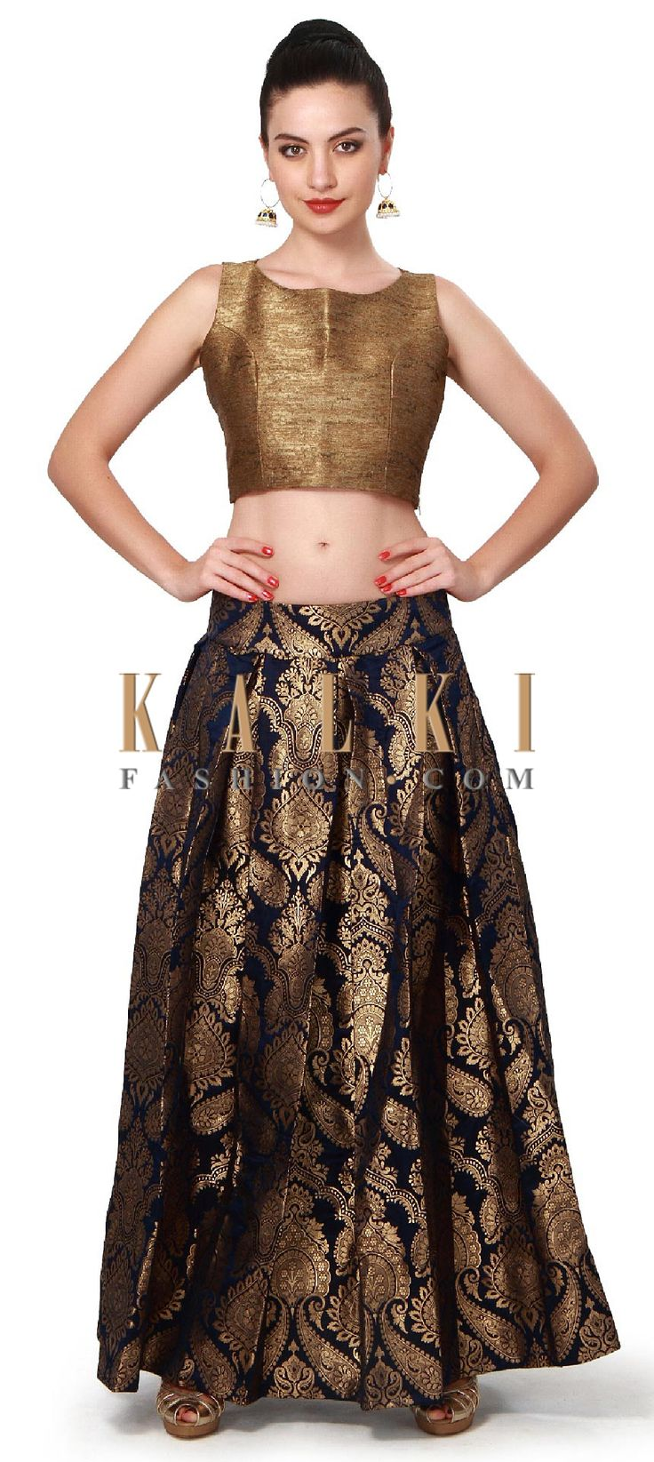 Buy Online from the link below. We ship worldwide (Free Shipping over US$100). Product SKU - 317306. Product Price - $279.00. Product Link - http://www.kalkifashion.com/navy-blue-skirt-matched-with-gold-crop-top-only-on-kalki.html