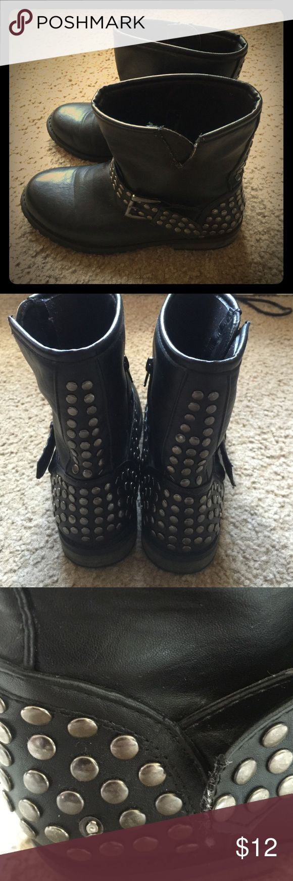 ✨BOGO {Dots} Studded Combat Boots Black Studded Combat Boots                                   Style: Trooper D; Size 7, but run big                                                       One stud is broken and wear is shown in 3rd pic; Good used condition ✨see BOGO free listing for details! Dots Shoes Combat & Moto Boots