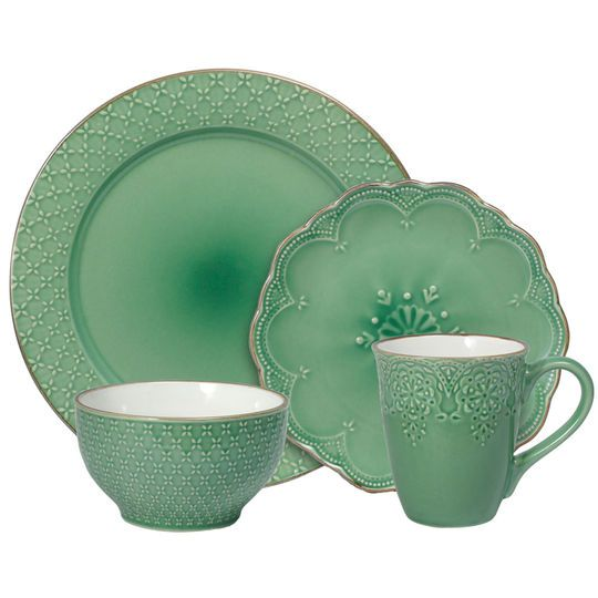 Green 32 Piece Dinnerware Set