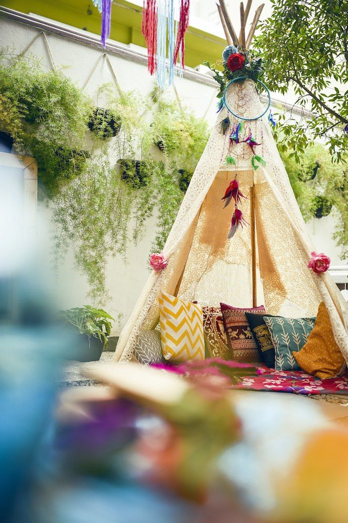 Teepee lounge from a Boho Tribal Birthday Party on Kara's Party Ideas | KarasPartyIdeas.com (11)