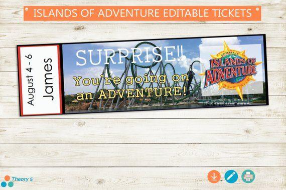 Islands Of Adventure Surprise Trip Reveal Tickets Adobe Etsy Surprise Trip Reveal Islands Of Adventure Trip
