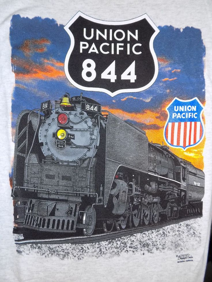 Union Pacific Railroad 844 Locomotive T Shirt Size Large Gray #UnionPacific #GraphicTee