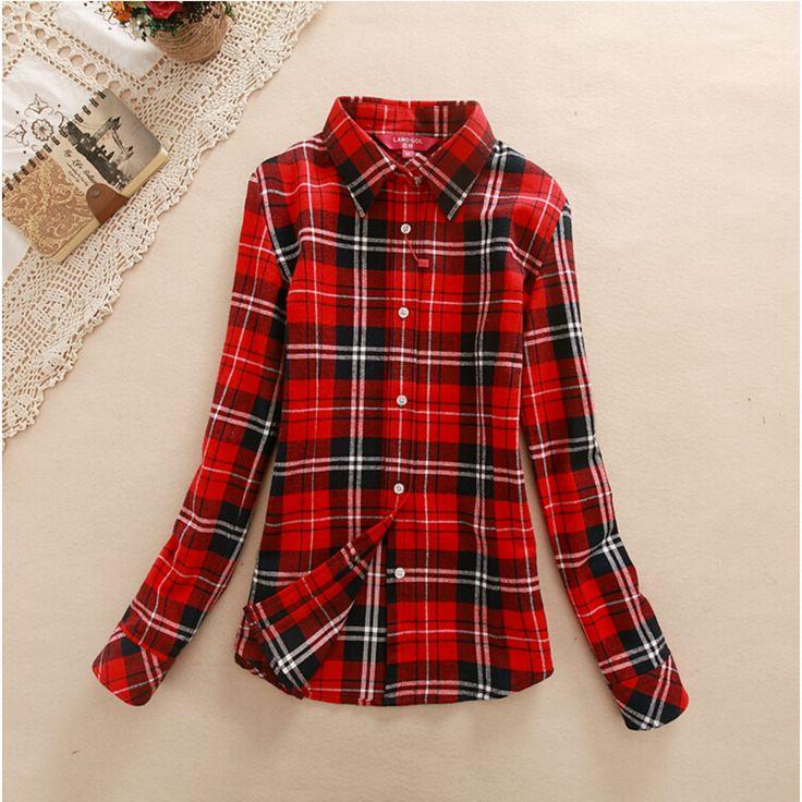 Women's Shirt 2016 Autumn Winter Ladies Female Casual Cotton Lapel Long-Sleeve Plaid Shirt Women Slim Outerwear Blouse Tops