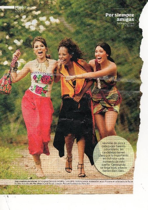 Miss Colombia Candidates for November 2010  Colombian beauty queens wearing Wayuu bags and Caña Flecha accessories.Find Wayuu Mochilas @ CordoBags.com