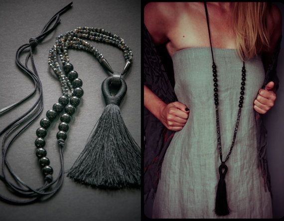 FAR NORTH large tassel necklace / Glass / Onyx by IRONWOLFjewelry