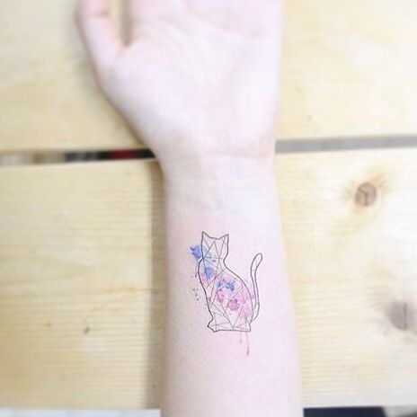 Cat tatto origami love