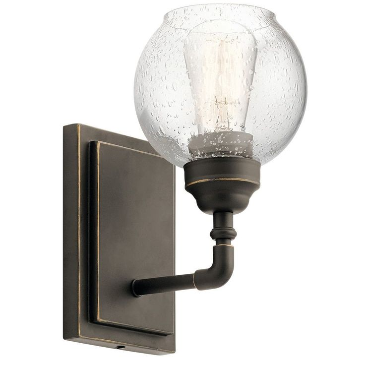 kichler lighting niles collection 1light olde bronze wall sconce brown glass