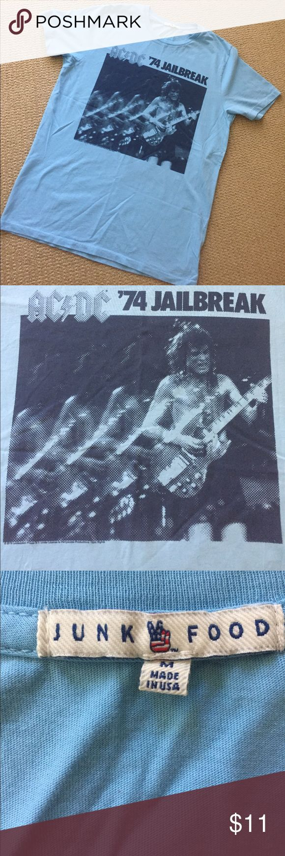 "AC/DC '74 Jailbreak Mens T Shirt Light blue with graphic on front. Label is Junkfood - Made In USA 🇺🇸 Pit to pit 22""- length 29"" size M. EUC! Junk Food Clothing Shirts Tees - Short Sleeve"