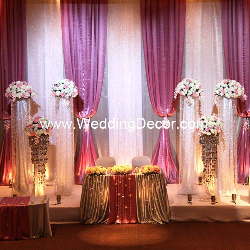 Wedding Wedding Decorations - Backdrop - Silver and white panels with dusty rose balloon panels - accents of florals and crystals