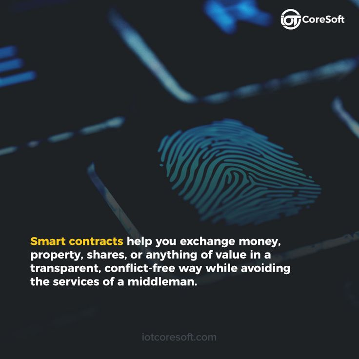 Smart contracts help you exchange money, property, shares, or anything of value in a transparent, conflict-free way while avoiding the services of the middleman.
