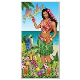 Een deurposter met een tropische afbeelding van een hula girl. Afmeting: 75 x 150cm. Perfect voor tropische themafeesten.