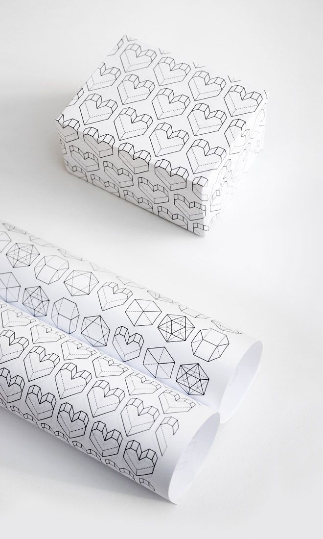 Geometric hearts wrapping paper - Free printable