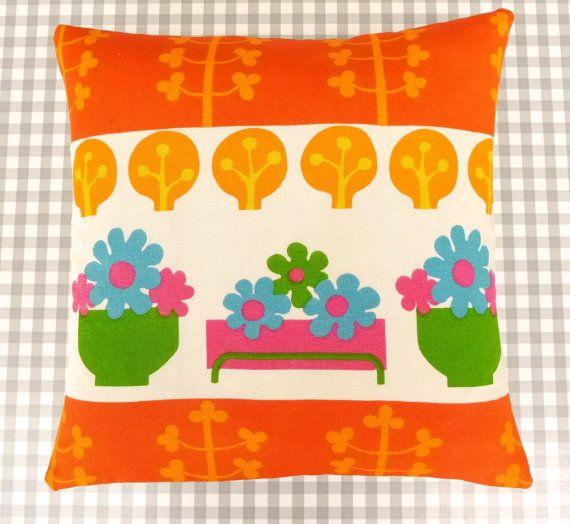 """14"""" Juvenile 70s Fabric cushion pillow by Jane Foster - Scandinavian flower power fabric"""