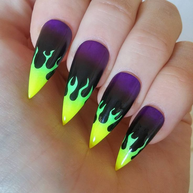 """1,252 Likes, 53 Comments - Liam Peter Taylor-Nail Artist (@liampeterrabbit) on Instagram: """"Toxic flames for evil bitches. I'm feelin the maleficent disney vibe with these. #nails #nailart…"""""""