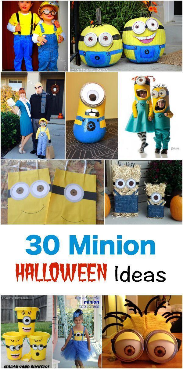 30 Costume - Pumpkin - Treat Bags - Face Painting - Decoration MINION Ideas. This the MINION HALLOWEEN Idea Round up!