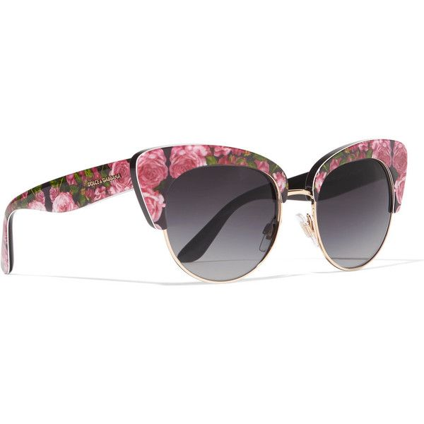 640fb867b Dolce & Gabbana Cat-eye floral-print acetate sunglasses ($285) ❤ liked on  Polyvore featuring accessories, eyewear, sunglasses, acetate sunglasses, cat -eye ...