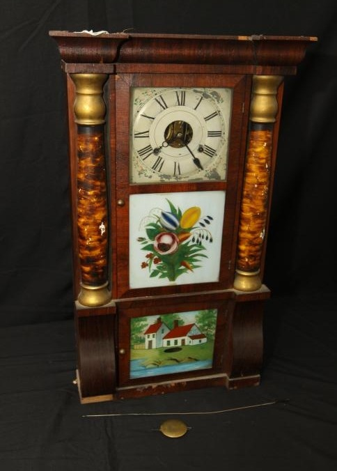 "Seth Thomas ""Brass Clocks"" with two reverse paint on glass panels. 16.5""x32.5""T. Clock Collection Auction Ending 3/17/13."