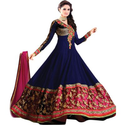 Buy Louis Vogue Blue Georgette Semi Stitched Suit by LOUIS  VOGUE, on Paytm, Price: Rs.999?utm_medium=pintrest