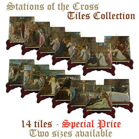 """I am proud to present my new """" Stations of the Cross """" tiles collection. You will find it only in my Etsy Store: >>> https://www.etsy.com/listing/568958280 <<<  Two sizes available. 14 ceramic tiles 100% handmade in Italy by @TerryTiles2014. Suitable for indoor or outdoor use. Ready to hang.  The images were inspired by a serie of frescos by Edward Arthur Fellowes Prynne today in the St Stephen's House at the University of Oxford.  #viacrucis #viadolorosa #catholic #catholicchurch…"""