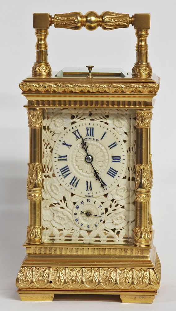 Antique Tiffany 5-Minute Repeater Carriage Clock with 4 Musical Bells & Alarm