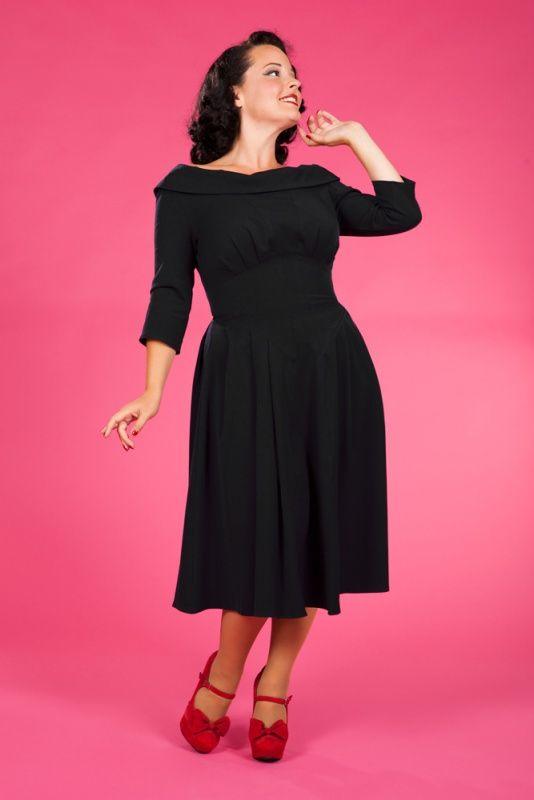 Miss Candyfloss Blairlee Lou 50s swing stretch dress black | Jurken | Miss Vintage | Retro, vintage geïnspireerde dames kleding