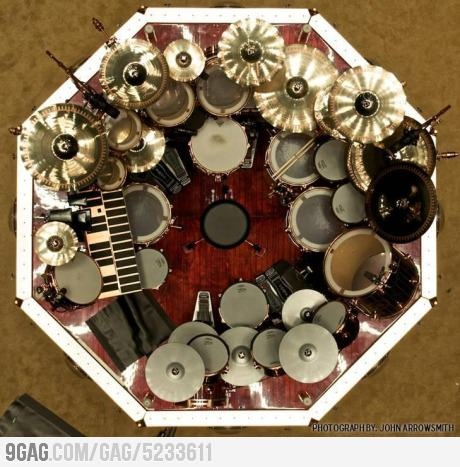 Aerial pic of Neil Peart's drum kit
