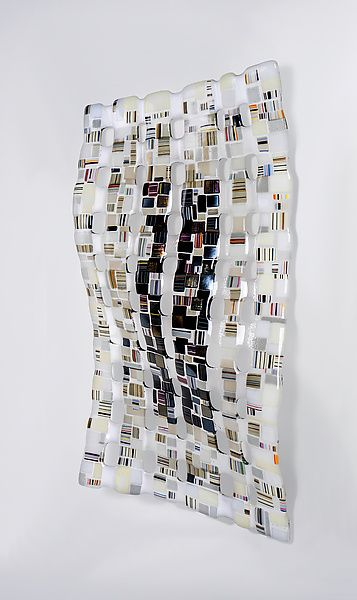 Black white retro mesh by renato foti art glass wall sculpture