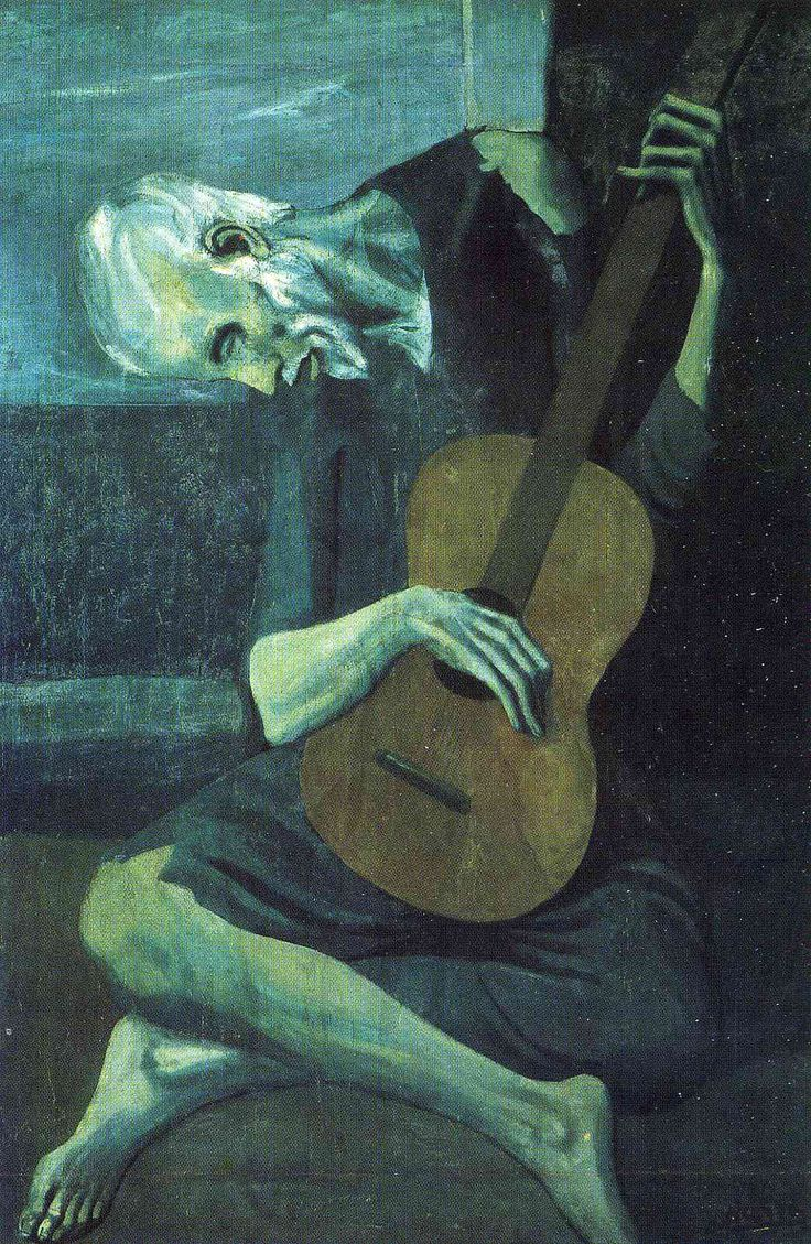 The old blind guitarist  Le vieux guitarriste aveugle     Artist: Pablo Picasso  Completion Date: 1903  Style: Expressionism  Period: Blue Period  Genre: genre painting  Technique: oil  Material: canvas  Dimensions: 121.3 x 82.5 cm  Gallery: The Art Institute of Chicago, IL, USA