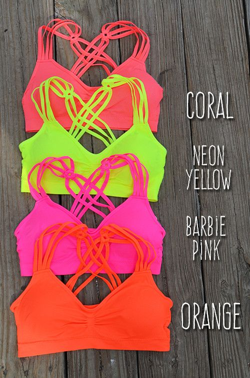 Strappy Back Bralette :: $9.99 :: Available in 8 color options: Coral, Neon Yellow, Barbie Pink, Orange, Ivory, Berry, Electric Purple, Blue :: www.ShopGroovys.com :: neon strappy bralette, bright padded bra, stretchy scrappy racerback bralette
