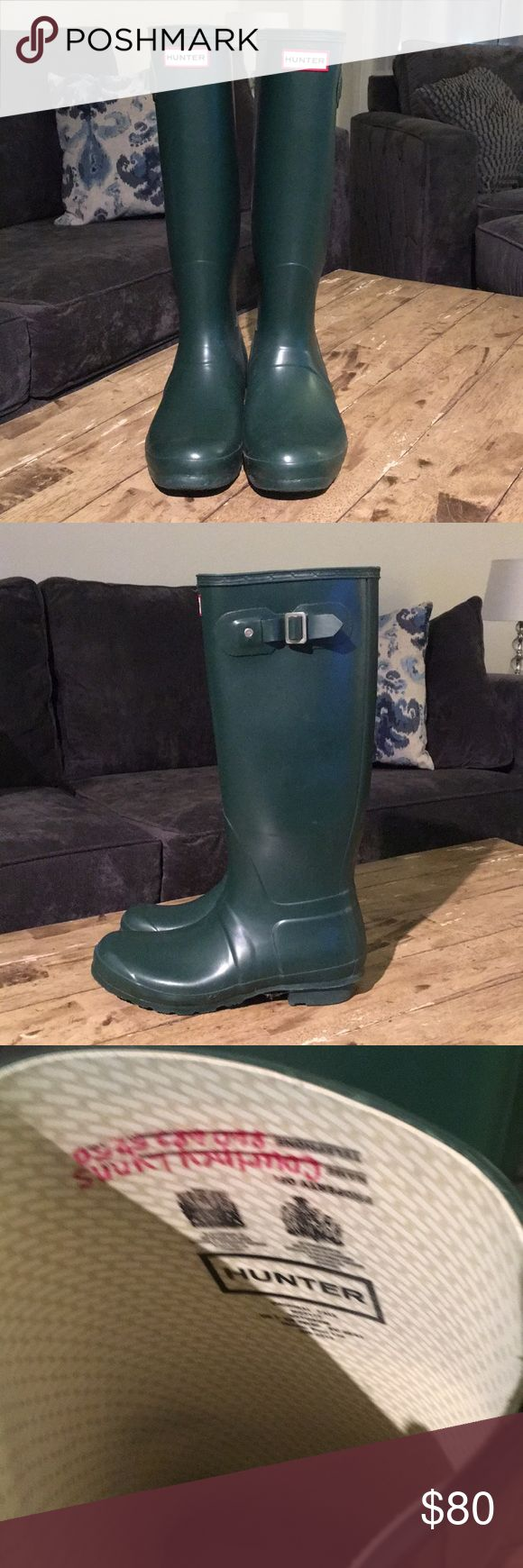 Hunter Rain Boots Hunter rain boots in matte hunter green color, great condition. These run big (I️ usually wear an 8.5 or 9). Classic tall style Hunter Boots Shoes Winter & Rain Boots